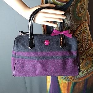 Coach wool stripe satchel charcoal/passion berry